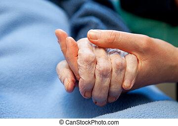 ręka, stary, starsza troska