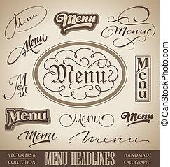 ręka, tytuł, komplet, (vector), menu