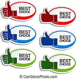 ręka, wektor, najlepszy, owal, wybór, majchry, gest