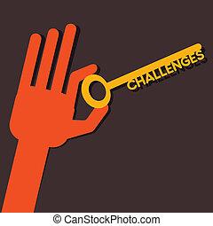 ręka, wyzwania, klucz