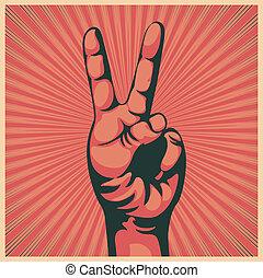 ręka, zwycięstwo znaczą