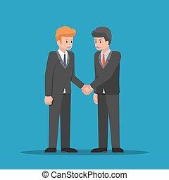 ręki potrząsające, razem., biznesmeni