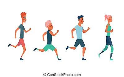 race., uczestnicy, ludzie, każdy, ubrany, trudny, maraton, wypadek, kobiety, inny, mężczyźni, atletyka, lekkoatletyka, clothes., wyścigi, outrun, grupa