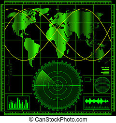 radar, ekran, światowa mapa