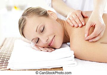 radiant, traktowanie, akupunktura, odbiór, kobieta