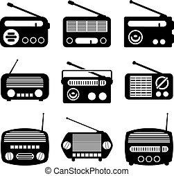 radio, wektor, komplet, ikony