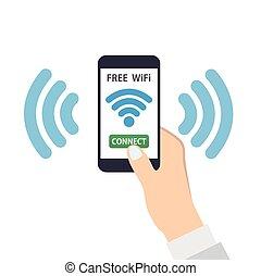 radiowe połączenie, wolny, wifi