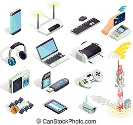 radiowy, ikony, komplet, urządzenia, isometric, technologia