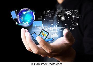 radiowy, media, technologia, nowoczesny, towarzyski