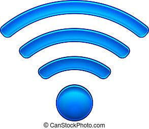 radiowy, symbol, wifi, sieć, ikona