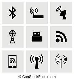 radiowy, wektor, komplet, ikona