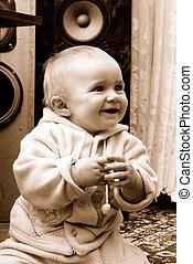 radość, śmiech, niemowlę, sincerely, pojęcie, mały