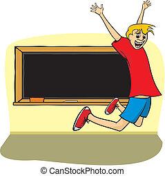 radość, -, chłopiec, skok, szkoła