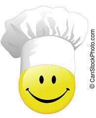 radość, gotowanie, szczęśliwy, smiley twarz