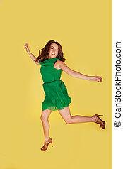 radość, kobieta, skaczący