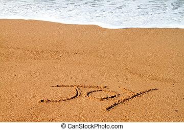 radość, pisemny, plaża