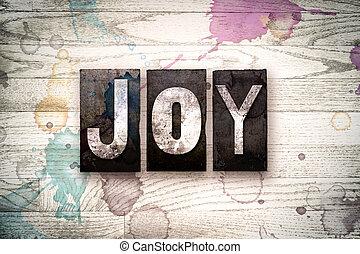 radość, pojęcie, metal, letterpress, typ