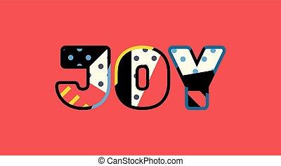 radość, pojęcie, sztuka, ilustracja, słowo