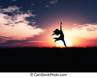 radość, przeciw, skokowy, zachód słońca, samica, krajobraz, 3d