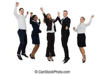 radość, skokowy, businesspeople