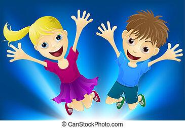 radość, skokowy, dzieci, szczęśliwy