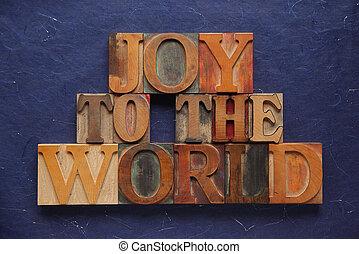 radość, stary, drewno, świat, typ
