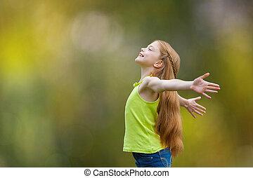 radość, wiara, dziecko, chwalić, koźlę, szczęście