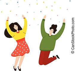 radość, wolność, radość, ilustracja, przyjaciele, emocje, skokowy, razem., miłość, friendship., projektować, różny, lekkość, szczęście, rysunek, beztroski