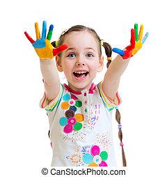 radosny, dziewczyna, mały, malować, biały, siła robocza