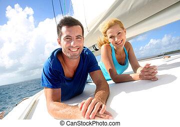 radosny, para, żagiel, krążąc po morzach, łódka