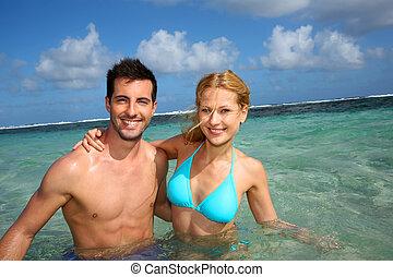 radosny, para, karaibski, laguna, pływacki