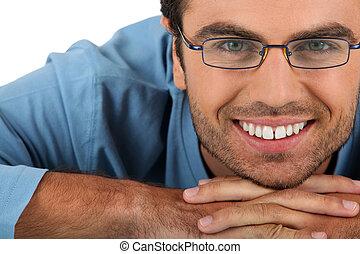 radosny, przy eyeglasses, człowiek