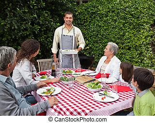 radosny, rodzina, ogród, portret