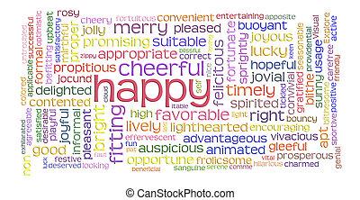 radosny, słowo, chmura, szczęśliwy