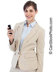 radosny, telefon, przedstawianie, kobieta interesu
