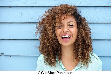 radosny, uśmiechnięta kobieta, młody, afrykanin