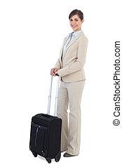 radosny, walizka, przedstawianie, kobieta interesu