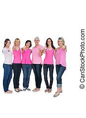 rak, przedstawianie, górny, dodatni, kobiety, pierś, różowy
