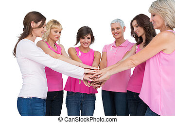 rak, przedstawianie, koło, kobiety, pierś, radosny, chodząc, różowy