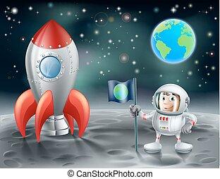 rakieta, przestrzeń, rocznik wina, księżyc, astronauta, rysunek