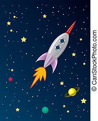 rakieta, przestrzeń, stylizowany, wektor, retro, statek