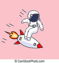 rakieta, reputacja, wektor, astronauta, ilustracja