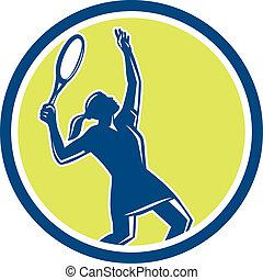 rakieta, tenisista, retro, samica, koło