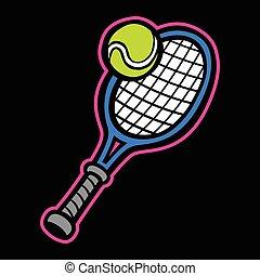 rakieta, tenisowa piłka, &