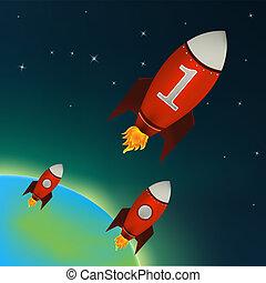 rakiety, przestrzeń, zewnętrzny, czerwony, przelotny