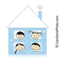 razem, dom, rysunek, szczęśliwa rodzina, uśmiechanie się, rys, własny