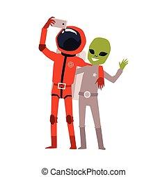 razem, rysunek, astronauta, zielony cudzoziemiec, selfie, wpływy