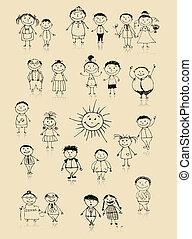 razem, rysunek, szczęśliwa rodzina, uśmiechanie się, rys, cielna