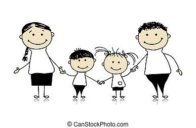razem, rysunek, szczęśliwa rodzina, uśmiechanie się, rys