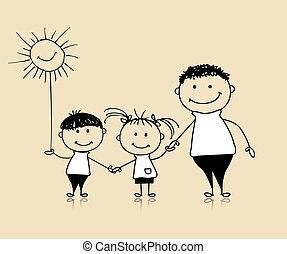razem, rysunek, szczęśliwy, dzieci, ojciec, rodzina, uśmiechanie się, rys